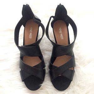 Nine West Shoes - Nine West Black Leather Wedge Heel